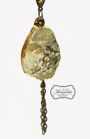 Serpentine Druzy Charm in Bronze