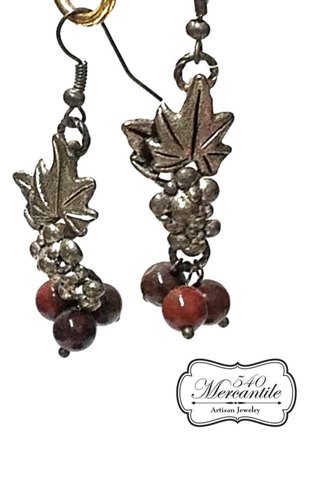 Shimmering Wine Country Silver & Red Jasper Earrings Silver grapes