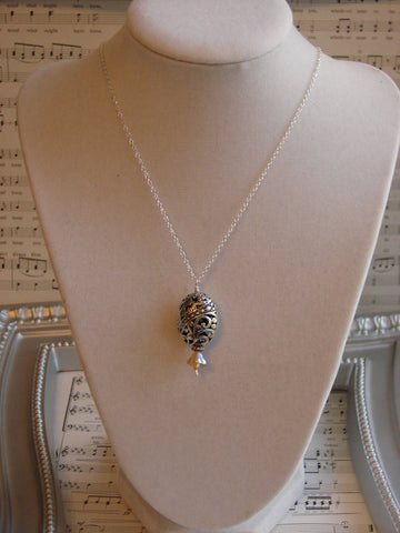 Silver Filigree Amber Czech Glass Flower  Necklace