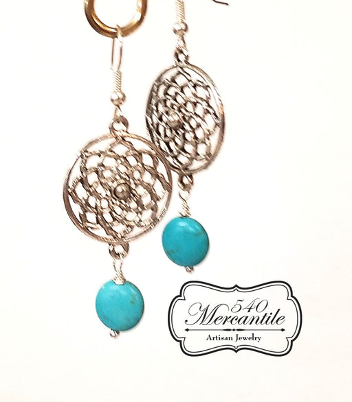 Silver Dreamcatcher and Turquoise Dangle Beaded Earrings