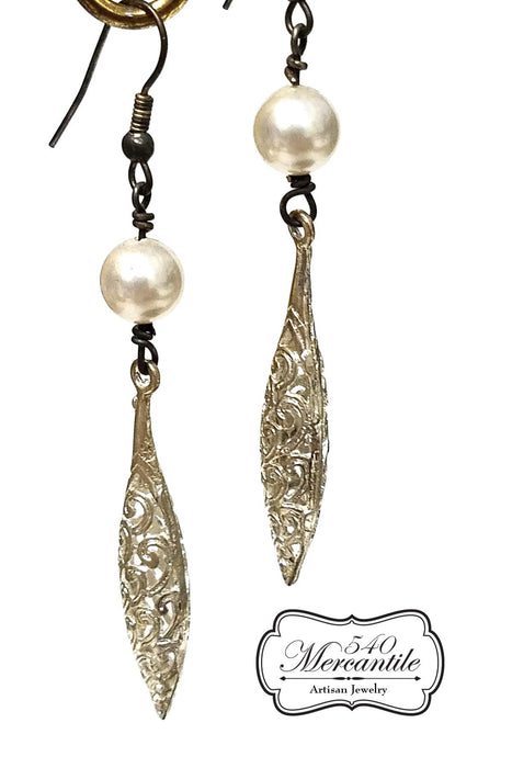 Swarovski Pearl Silver Filigree Beaded Dangle Earrings