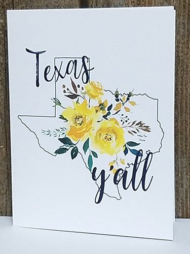 Yellow Rose of Texas Y'all Notecard by Moss Rose Designs