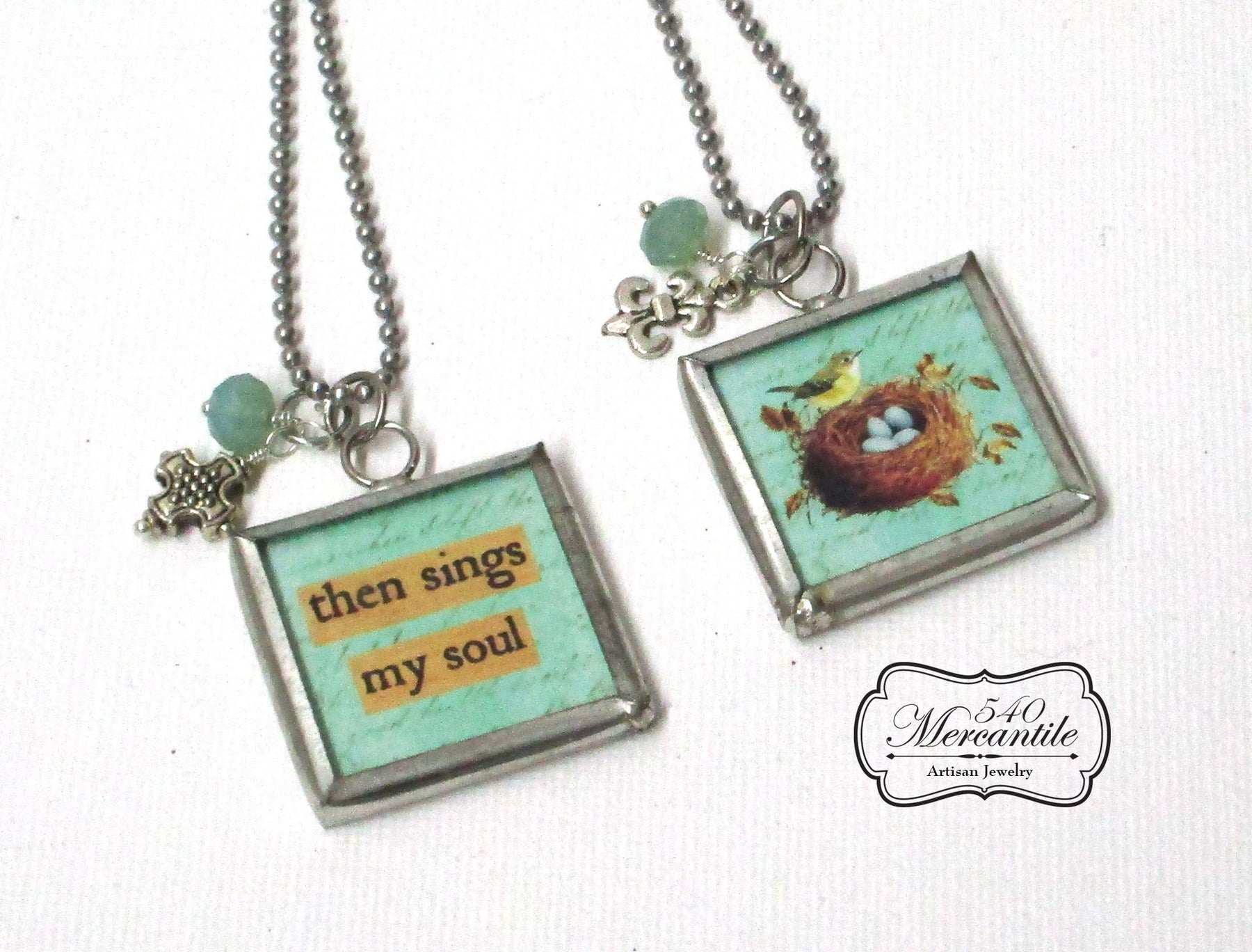 Then Sings My Soul Charm Silver Necklace
