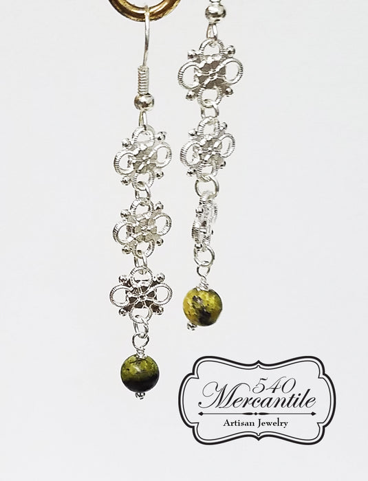 Triple Floral with Serpentine Beaded Silver Handmade Earrings