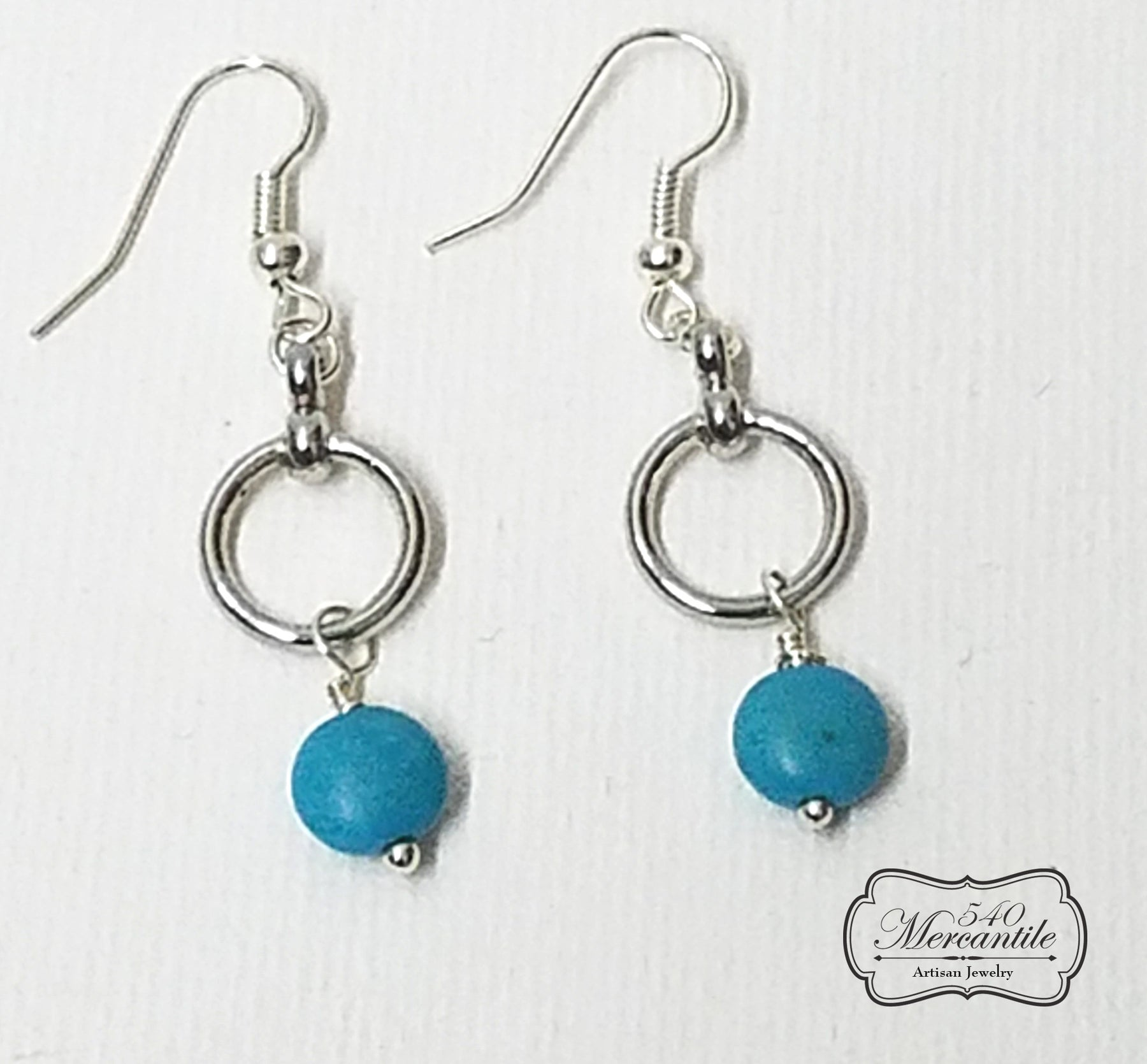 Silver & Magnesite Dangle Beaded Earrings