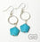 Twisted Silver Rings & Turquoise Magnesite Flowers Dangle Beaded Earrings