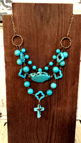 Turquoise Magnesite and Bronze Triple Tier Bib Cross Necklace