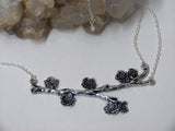 Blooming Twig Branch Silver Necklace