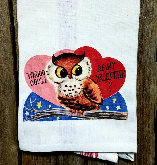 Whoo'll Will Be My Valentine  Kitchen Towel