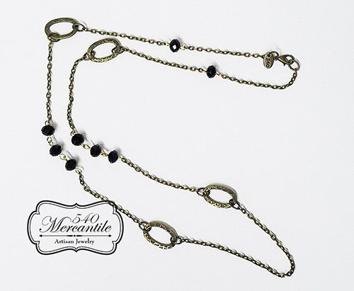 Black and Bronze Beaded Charm Necklace