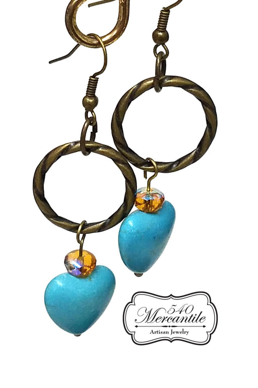 Bronze Magnesite Heart Dangle Classic Beaded Handmade Earrings