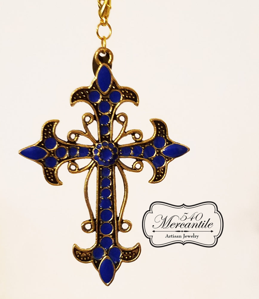 Large  Cross Charm in Gold and Blue Enamel