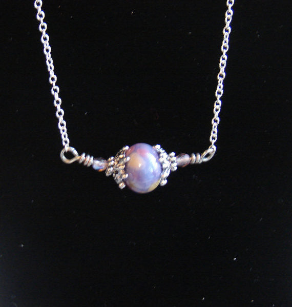 Purple Lampwork Necklace with Sterling Silver Chain