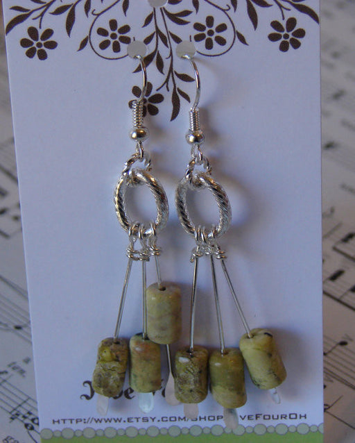 Yellow Turquoise Tube Beaded Silver Handmade Earrings