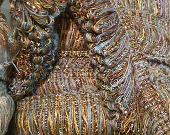 Moss Trim Upholstery Fringe Trim Copper and Blue