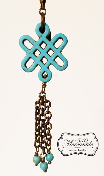 Turquoise Magnesite Knot Beaded Charm in Bronze