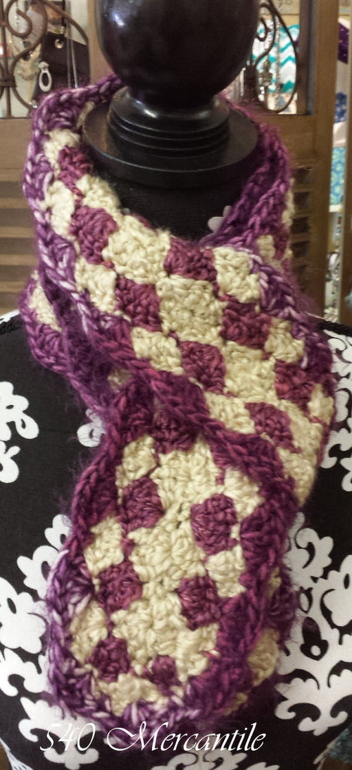 Plums & Ivory Shell Crochet Scarf
