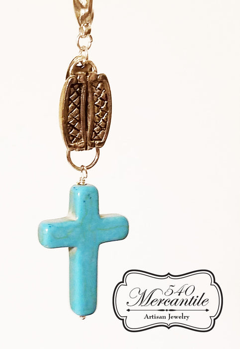 Turquoise Magnesite Cross Charm in Silver