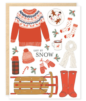 winter gear sweater mittens hat scarf christmas holiday let it snow greeting card