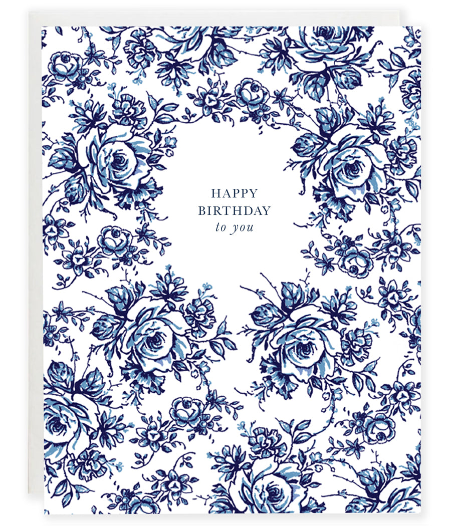 blue and white floral china pattern flower happy birthday greeting card