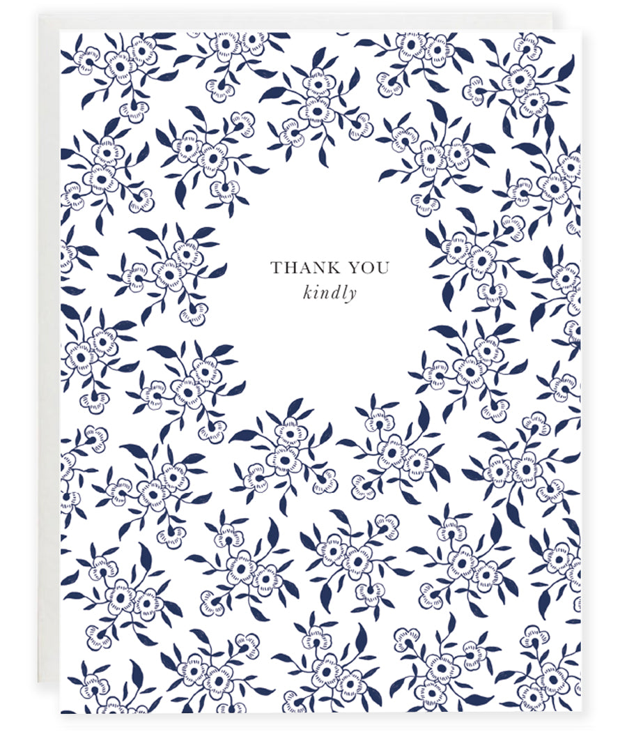 blue and white floral china pattern thank you greeting card