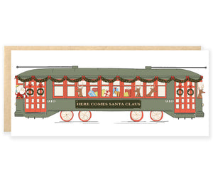 new orleans streetcar with santa claus reindeer and presents christmas holiday greeting card