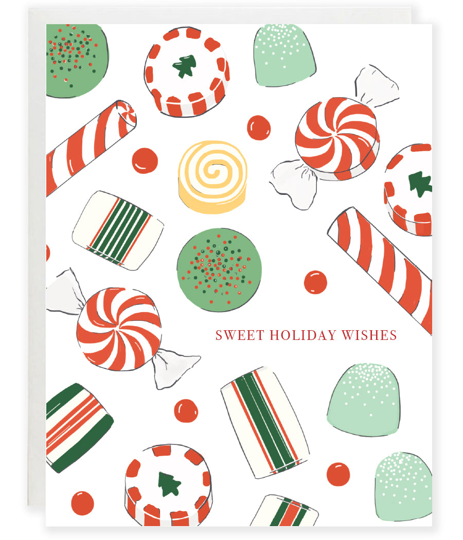 candy collage peopermint and candy cane and gum drop holiday christmas greeting card