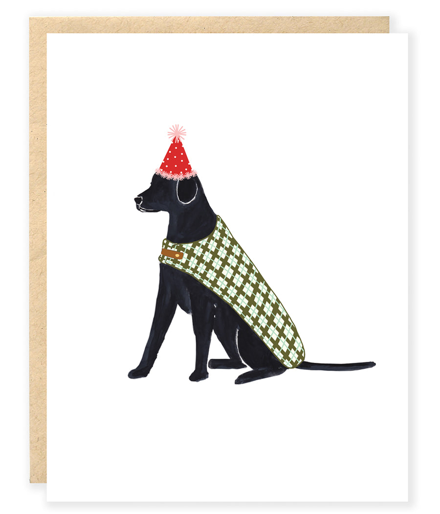 black labrador dog wearing party hat and plaid cale birthday greeting card