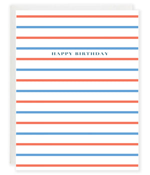 nautical stripe preppy red and blue happy birthday greeting card