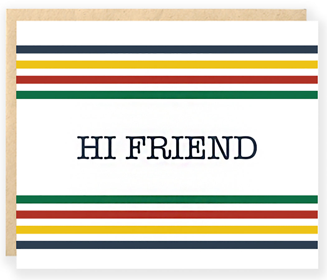 pendleton hudson bay stripe greeting card preppy hi friend