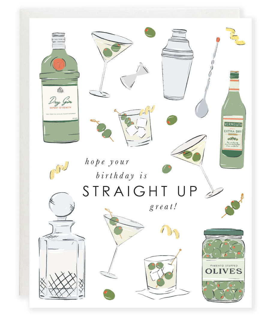 martini cocktail pun straight up birthday greeting card
