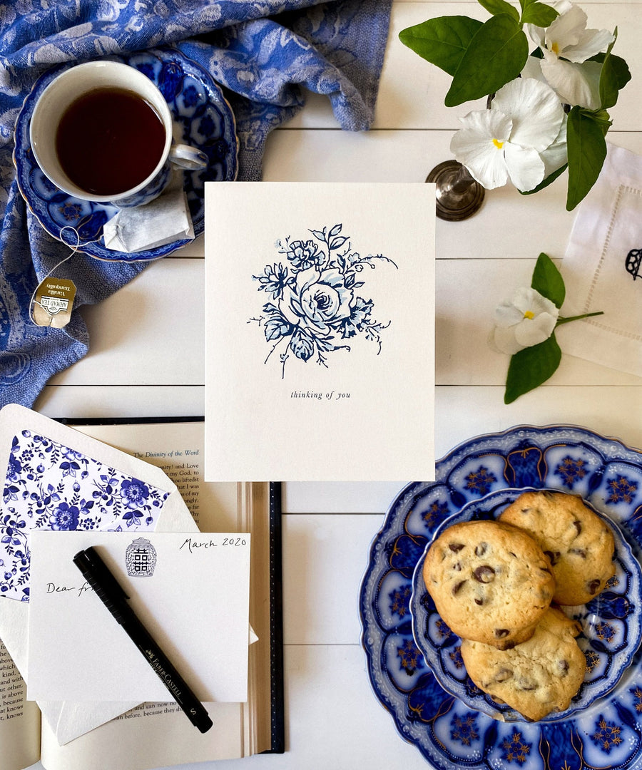 blue and white floral china pattern flower thinking of you sympathy greeting card