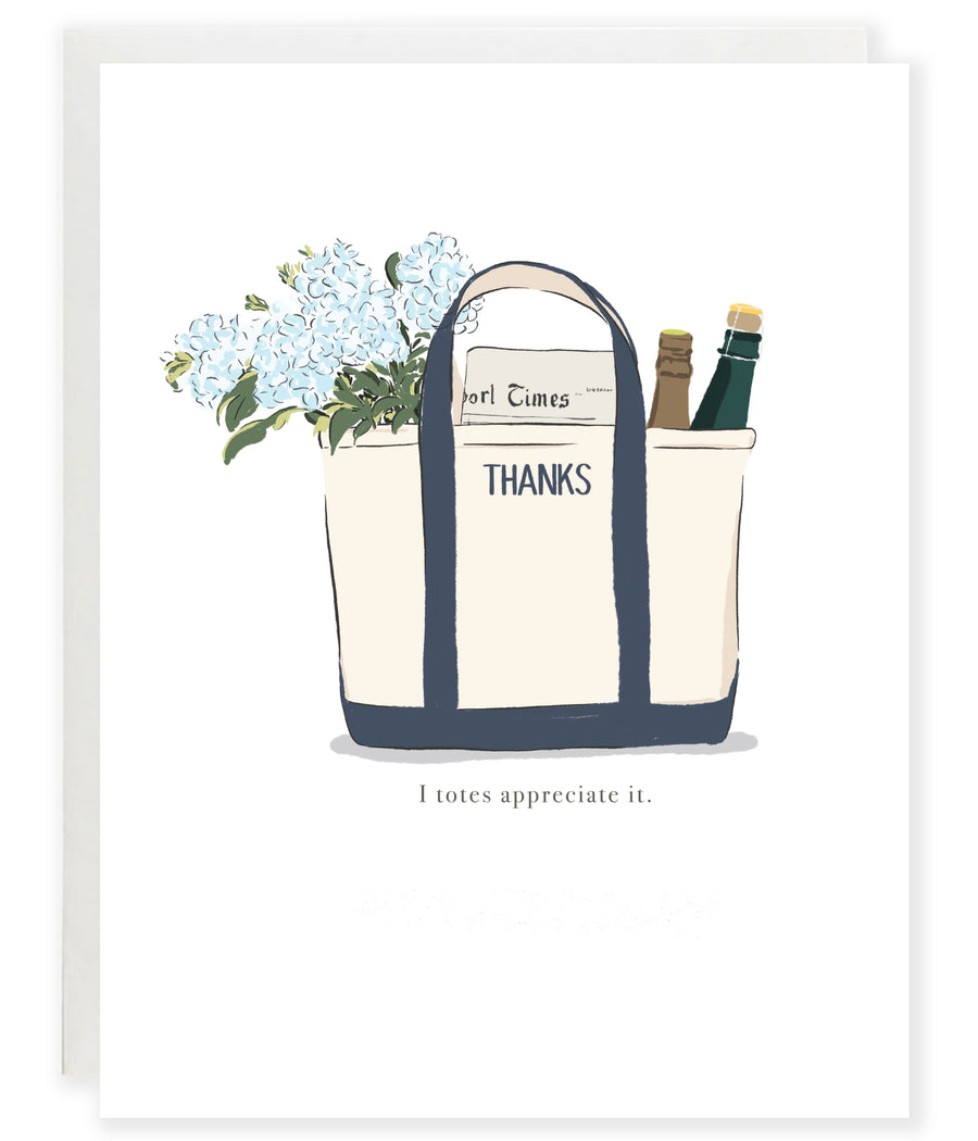 LL bean boat tote pun thank you greeting card with hydrangeas and wine
