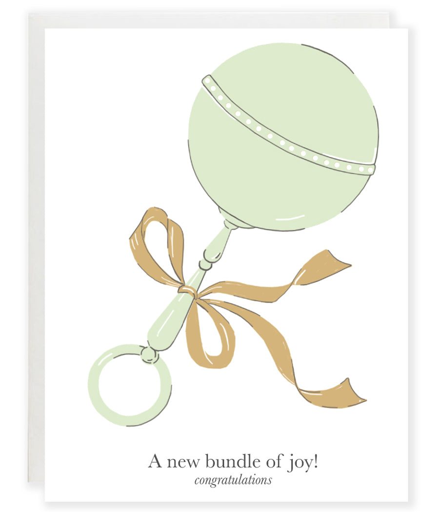 baby rattle with bow new bundle of joy new baby greeting card