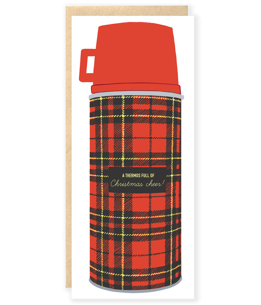 Vintage preppy camping plaid thermos Christmas holiday card
