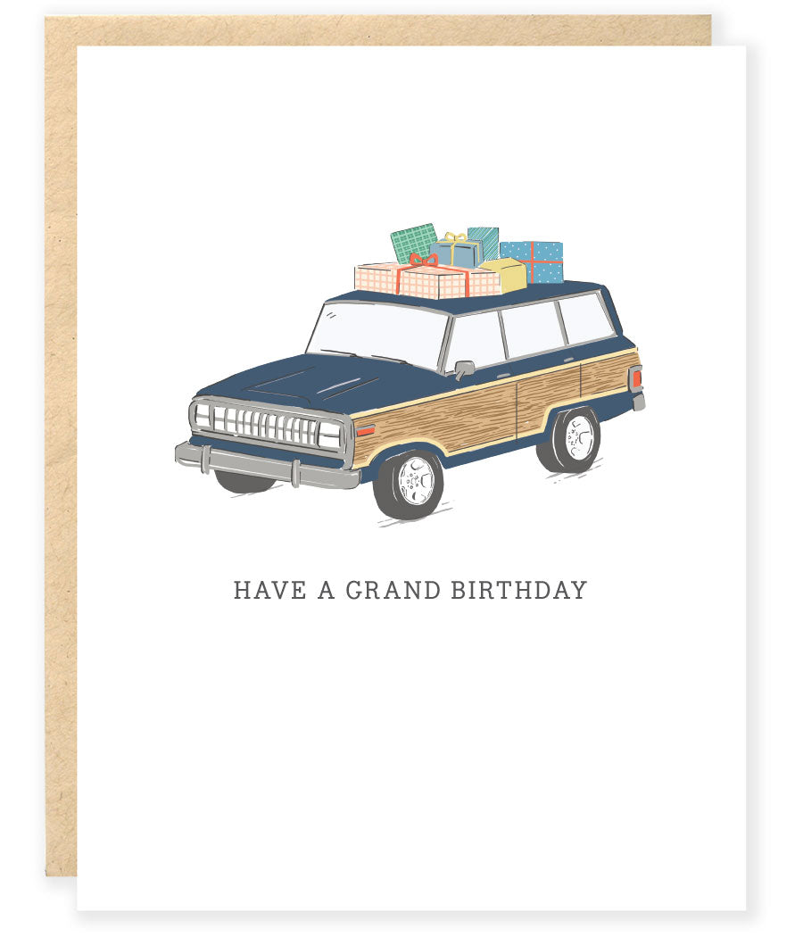 jeep grand wagoneer woody with presents happy birthday greeting card