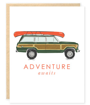 Preppy vintage wagnoeer woody canoe adventure congrats greeting card