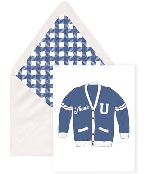 vintage preppy varsity university pun thank you greeting card with blue gingham plaid check envelope liner