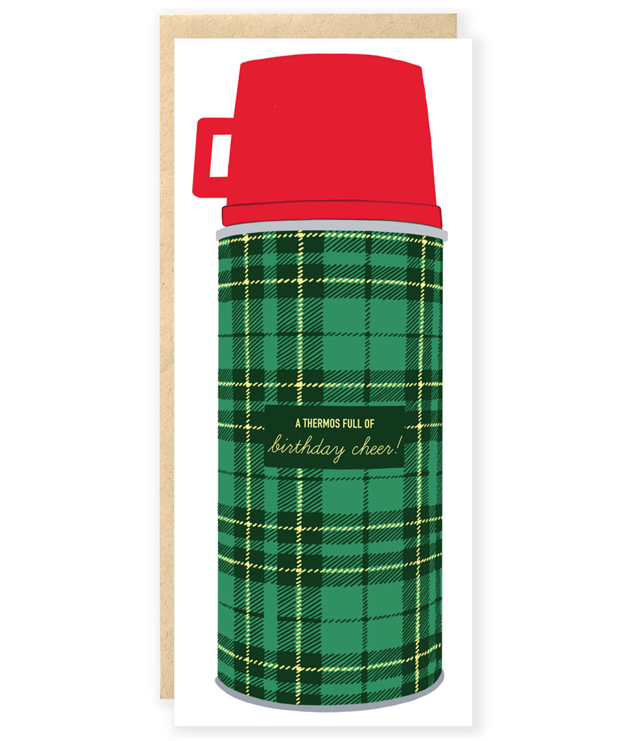 classic preppy plaid thermos camping birthday greeting card