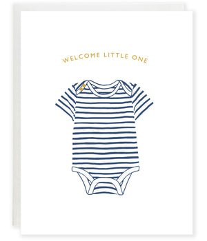 blue striped onesie new baby boy congratulations greeting card
