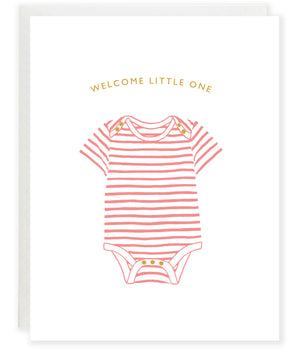 pink striped onesie new baby girl congratulations greeting card