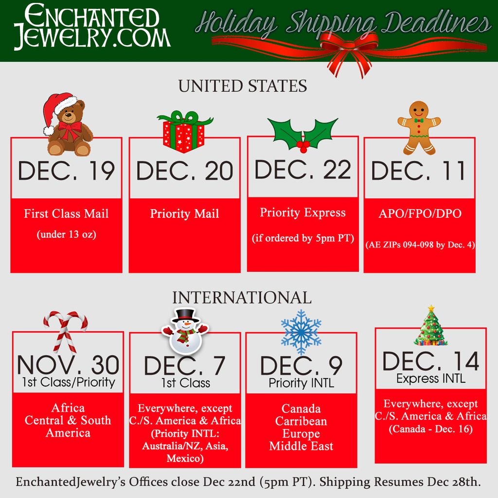 EnchantedJewelry.com Holiday Shipping Deadlines 2017
