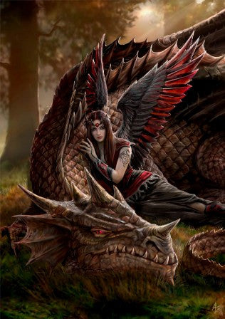 rAN06-Winged Companions Card (Anne Stokes Dragons Cards) at Enchanted Jewelry & Gifts