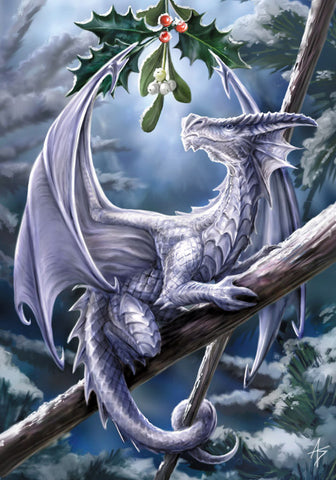 rAN11-Snow Dragon Card-Anne Stokes Yuletide Magic Cards-Enchanted Jewelry & Gifts