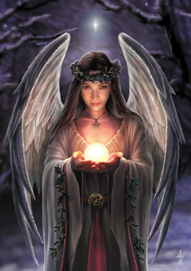 rAN12-Yule Angel Card-Anne Stokes Yuletide Magic Cards-Enchanted Jewelry & Gifts