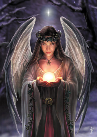 (Product Code: rAN12) Yule Angel Card, Anne Stokes Yuletide Magic Cards - EnchantedJewelry