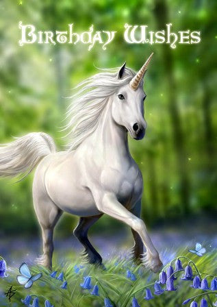 rAN17 - Unicorn Card by Anne Stokes (Birthday Cards) at Enchanted Jewelry & Gifts