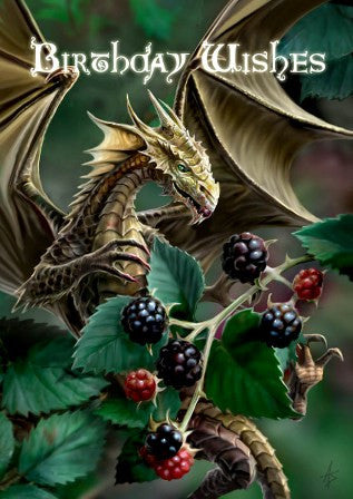 (Product Code: rAN19) Blackberry Dragon Card, Anne Stokes Birthday Cards - EnchantedJewelry