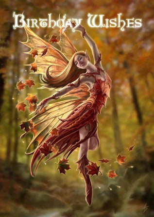 (Product Code: rAN20) Autumn Fairy Card, Anne Stokes Birthday Cards - EnchantedJewelry