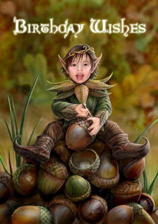 (Product Code: rAN22) Acorn Pixie Card, Anne Stokes Birthday Cards - EnchantedJewelry